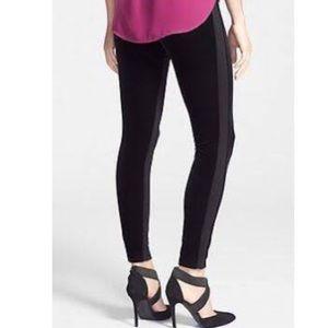 Anthropologie Tuxedo Stripe Velvet Leggings